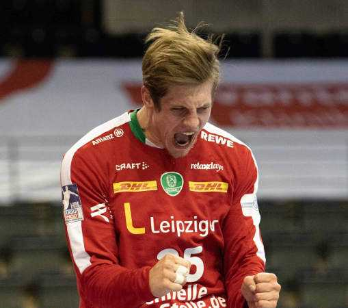 Handball Bundesliga: Joel Birlehm - SC DHfK Leipzig vs. Füchse Berlin - Foto: Klaus Trotter