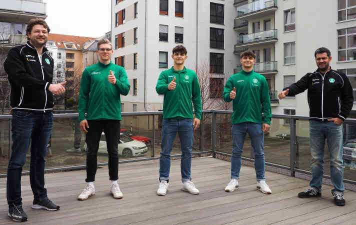 Matthias Albrecht, Niclas Heitkamp, Finn Leun, Jakob Leun, Karsten Günther (v.l.) - Foto: SC DHfK Leipzig