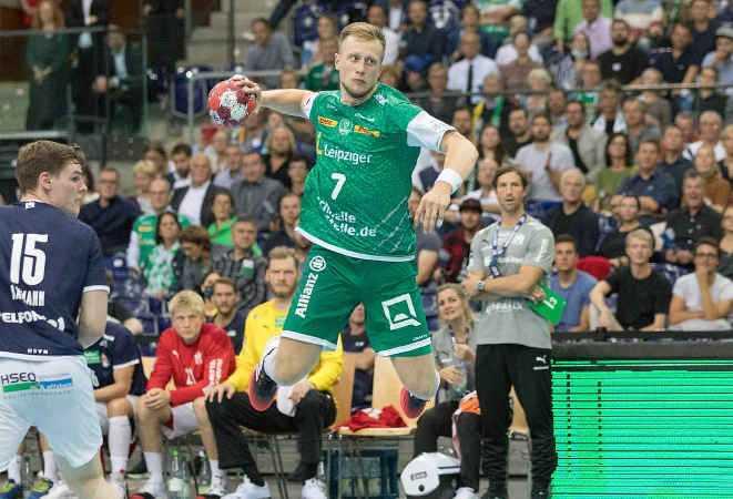 Luca Witzke - SC DHfK Leipzig vs. HSV Hamburg - Handball Bundesliga am 23.09.2021 - Foto: Karsten Mann