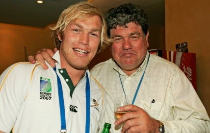 PARIS, FRANCE - 20 October 2007, Schalk Burger and his dad Schalk Snr during the Springboks victory celebration at their hotel in Paris, France. Photo by Tertius Pickard / Gallo Images