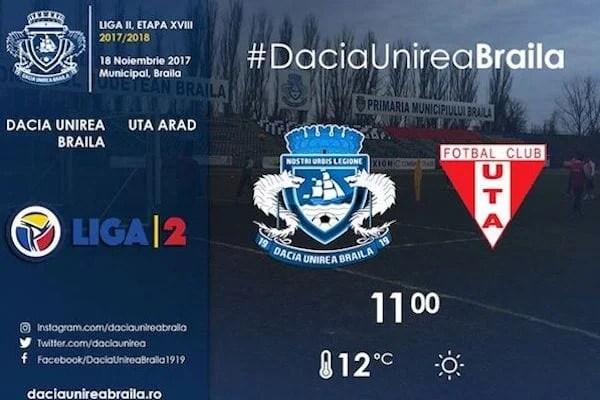Livetext, ora 11.00: Dacia Unirea Brăila – UTA, 0-0 final