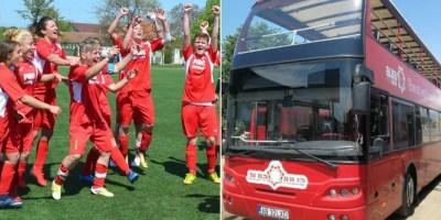 Campioanele de la Piroș Security își primesc trofeul și aprecierea arădenilor la bordul unui autocar descoperit