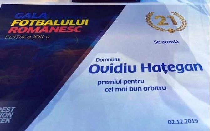 Ovidiu Hațegan a salvat onoarea Aradului la Gala Fotbalului Românesc