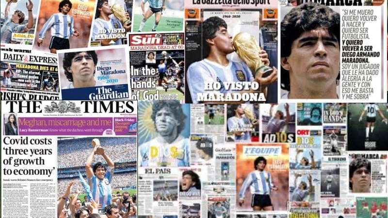 "Titlurile din presa mondială despre disparția lui Diego Armando Maradona: ""AD10S…in hands of God""+ VIDEO + LIVE"