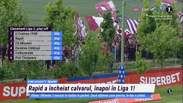 După 6 ani, Rapidul se întoarce în Liga 1! Mioveniul și-a asigurat prezența la baraj, unde speră să ajungă și Călărași, Csikszereda sau Poli după ultima etapă!