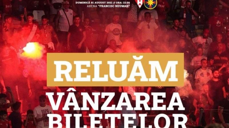 """""""Relaxările"""" au apărut în Monitorul Oficial, UTA reia vânzarea biletelor la meciul cu FCSB până la 75% din capacitatea arenei """"Francisc Neuman"""""""