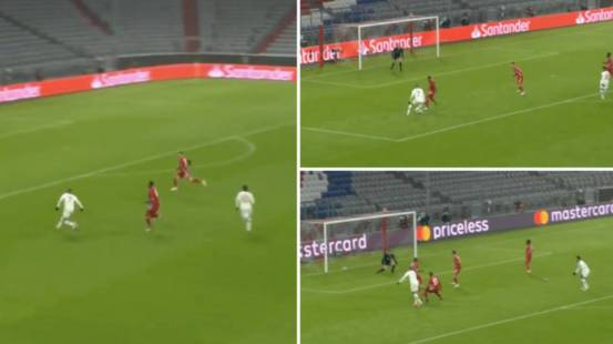 PSGY's Kylian Mbappe made 11 steps in 1.82 seconds before scoring a great second goal against Bayern Munich