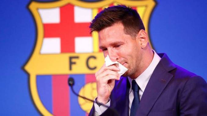 Messi broke down in tears after he announced his departure at a farewell news conference