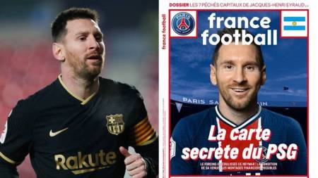 Lionel Messi Pictured In Paris Saint-Germain Shirt On Front Cover Of France  Football