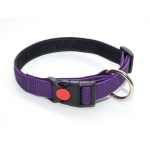 Ошейник из прорезиненной стропы 25 мм фиолетовый подшивка большое кольцо пластик с фиксатором