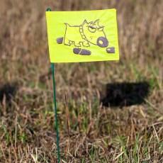 Флажок следовой с вышивкой следовая собака желтый