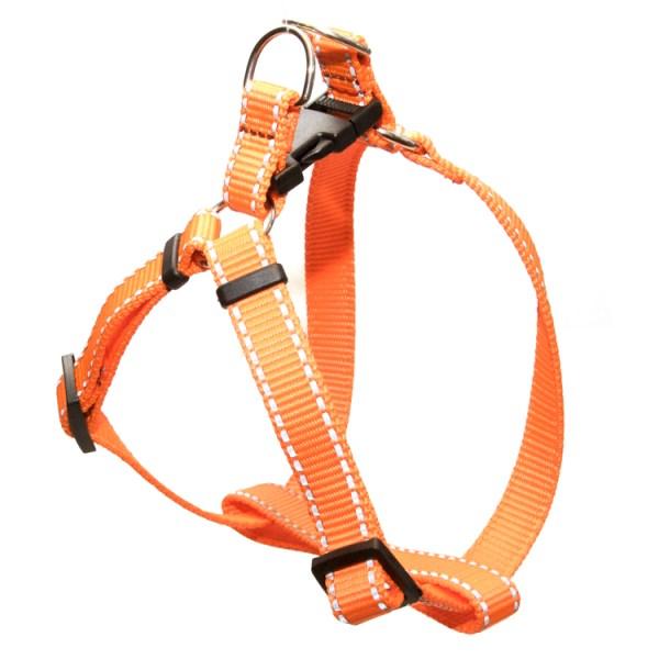 Шлейка для щенка оранжевая с рефлексной полоской