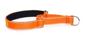 Мартингейл текстильный оранжевый с подшивкой и вышитой надписью