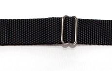 Ошейник из плотной стропы 30 мм черный, стальной фастекс