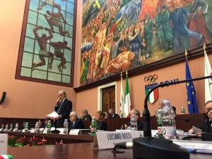 Un momento del Consiglio Nazionale CONI, alla presenza del presidente Giovanni Malagò