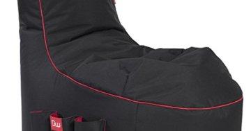 GAMEWAREZ Crimson Thunder 2.0 Gaming Sitzsack, Made in Germany, für PS4, XBOX360, XboxOne, Nintendo DS, Nintendo Switch, Smartphone. Schwarz mit rotem Keder, Tasche und Kopfhörerhalterung - 1