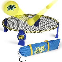 A11N BING BANG BALL Roundnet Set | Stahlring | vormontierte Haken | gespanntes Netz | inkl. 3 Bälle, Ballpumpe, Tragetasche | für indoor und outdoor - 1