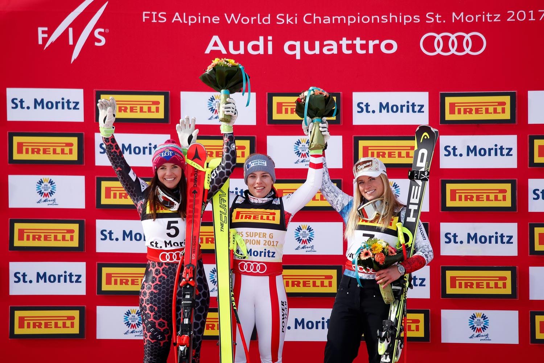 Alpine Ski WM 2017 St. Moritz, Super G Frauen, Podest