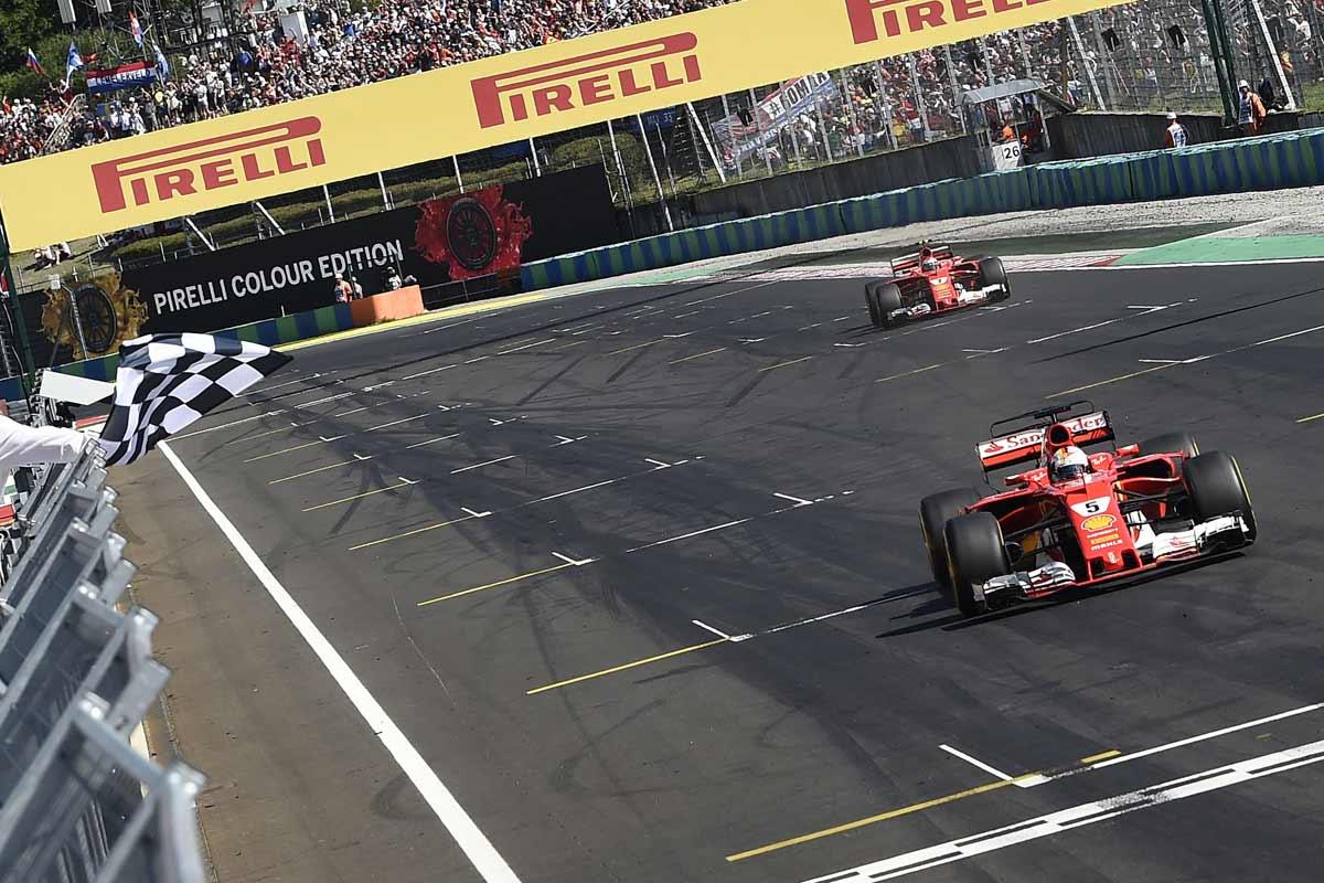 Formel1-Ungarn2017-Zieleinlauf-Ferrari-Doppelsieg