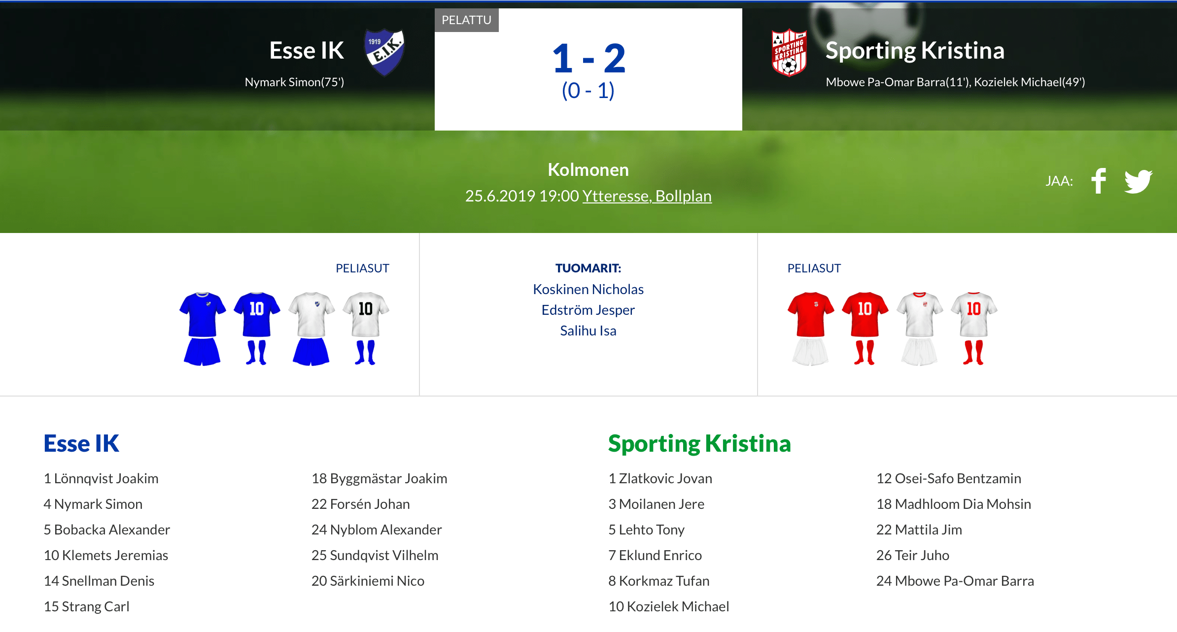 You are currently viewing Esse IK – Sporting Kristina 1-2 (0-1)