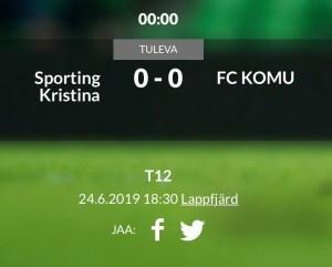 Read more about the article T12 kohtaa FC KOMUn kotikentällä