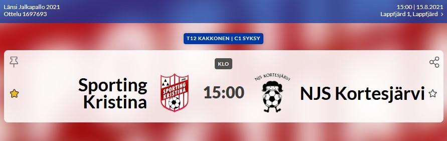 Read more about the article T12: Sporting Kristina-NJS Kortesjärvi, 15.8.2021 klo 15.00 Lapväärtti