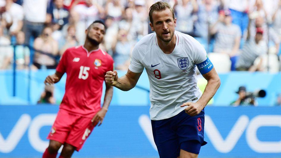 Harry Kane celebrates his second goal against Panama