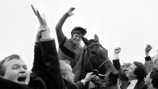 Jonjo O'Neill celebrates after winning the 1986 Gold Cup aboard Dawn Run