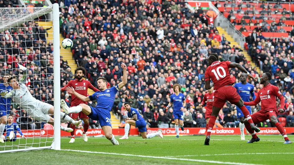 Sadio Mane gives Liverpool the lead against Chelsea