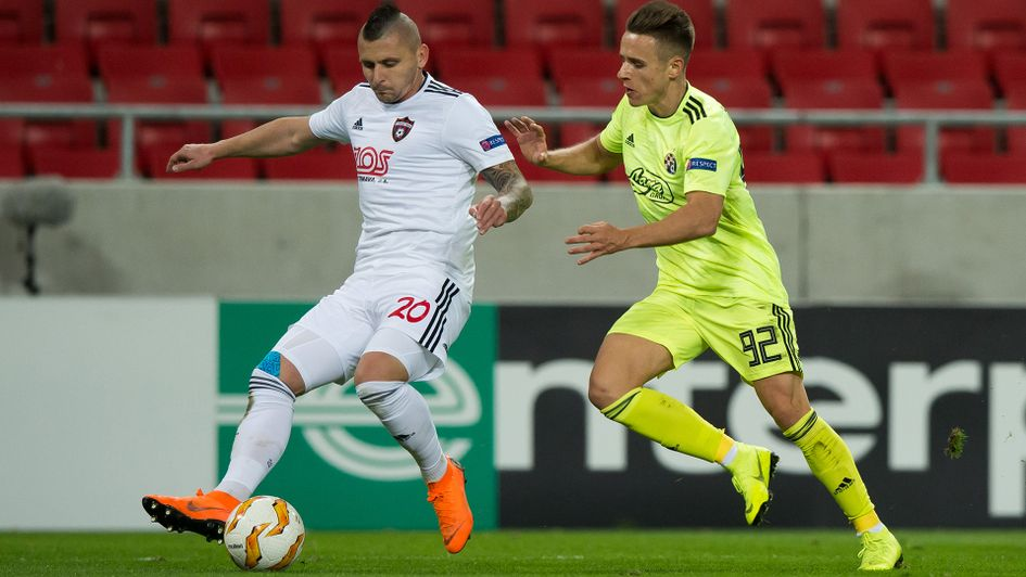 Damian Kadzior (right) in action against Trnavas