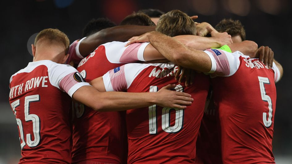 Arsenal celebrates after a goal against Qarabag