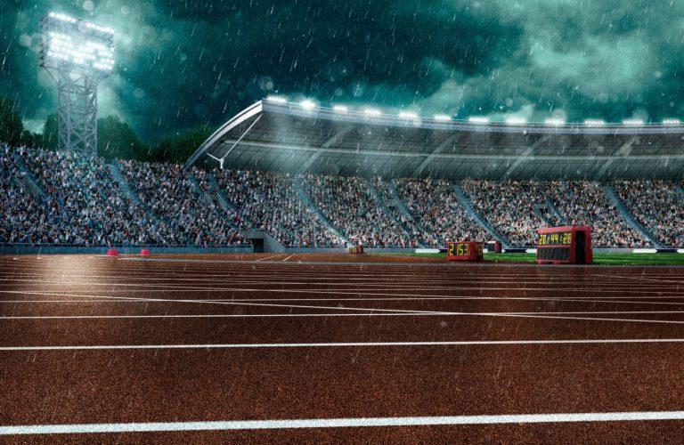 Outdoor floodlit stadium full of spectators under evening sky and rain. Image made in 3D.