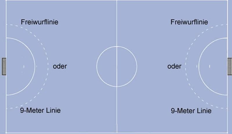 handball und freiwurflinie 9 m linie