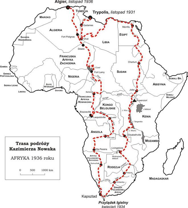 Mapa_podrózy_Kazimierza_Nowaka
