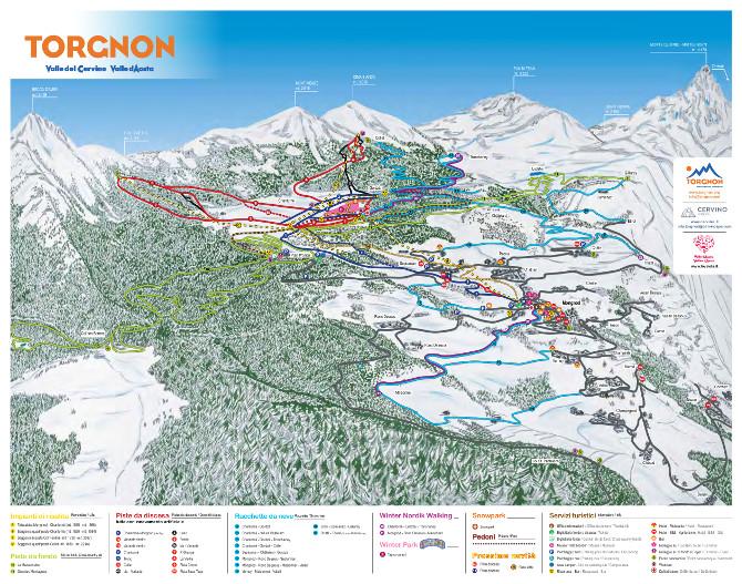 Mappa piste da sci Torgnon