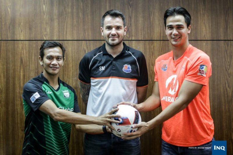 Chieffy Caligdong, Simon McMenemy and James Younghusband. (Photo by Tristan Tamayo via Inquirer.net)