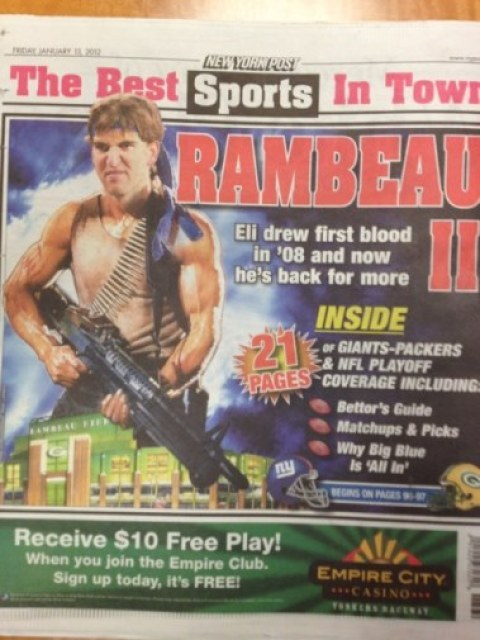Back Page Of New York Post Features Eli Manning As Rambo