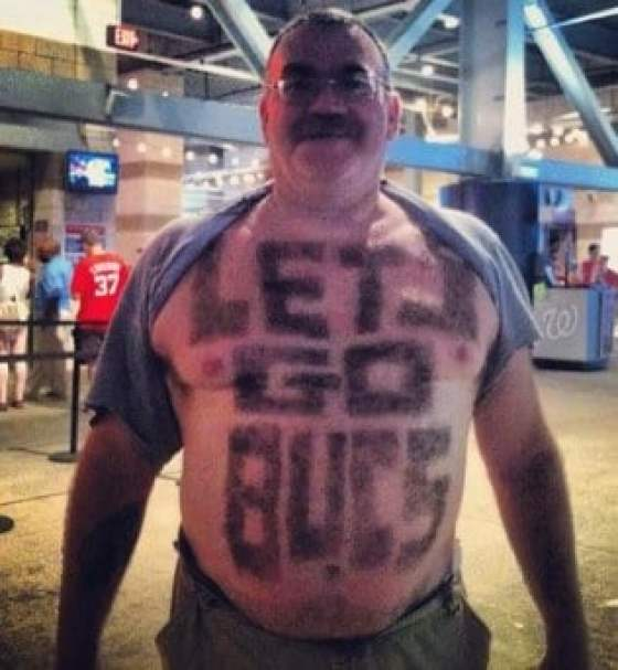 7b33b4c68f309e Pirates fan shaves 'LET'S GO BUCS' into chest and stomach hair (photo)
