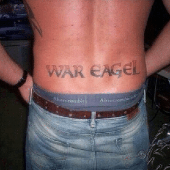 Phoenix Tramp Stamp Tattoos: Auburn Tigers Fan Gets 'War Eagel' Tramp Stamp Tattoo (photo