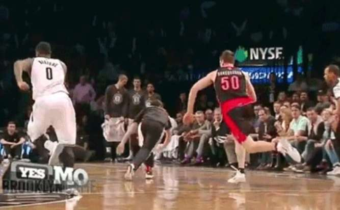 020f73a184acbc Towel boy nearly trucked by Tyler Hansbrough, dives out of the way (video)