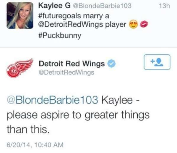 Self-proclaimed 'puck bunny' shamed by Detroit Red Wings ...