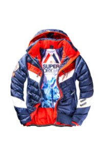 SUPERDRY SNOW - SCUBA CARVE HOODED JACKET - NAVY _ RED -ú149.99