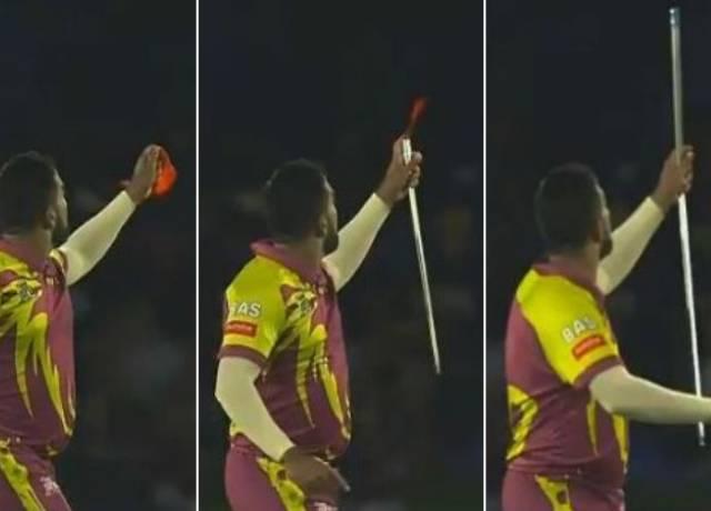 African bowler Tabraiz Shamsi celebrates wicket with magic
