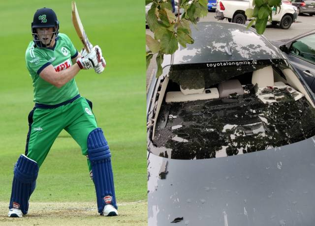 Kevin O'Brien smashes own car's windscreen with a six