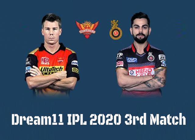 Dream11 IPL 2020: SRH vs RCB 3rd Match Live streaming & score