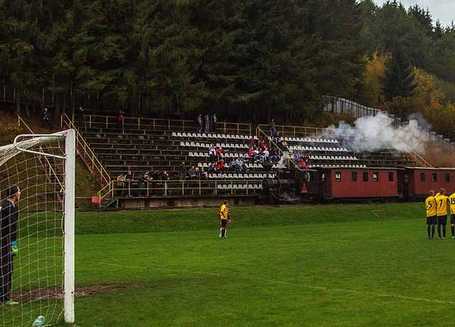 Train went through the ground during the football match