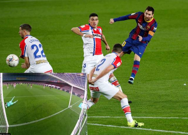 Lionel Messi's goal from outside the box is absolute beauty