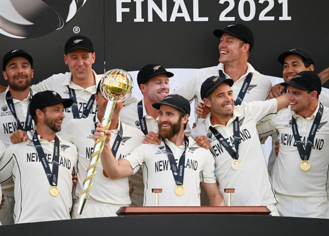 New Zealand win the World Test Championship trophy