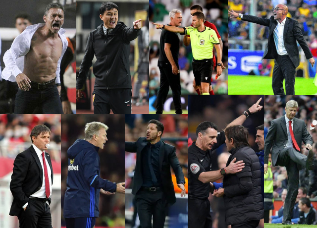 Top 10 managers/Coaches who were sent off (Red Card) during the match