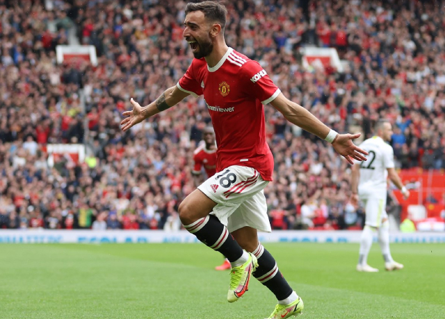 Bruno Fernandes scores his first hattrick for Manchester United in Premier League